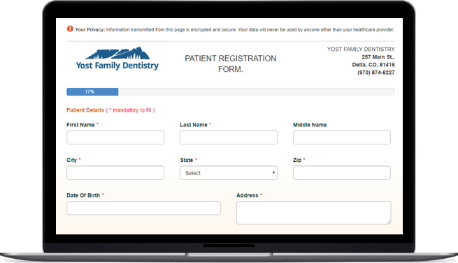 Online forms are available for new patients
